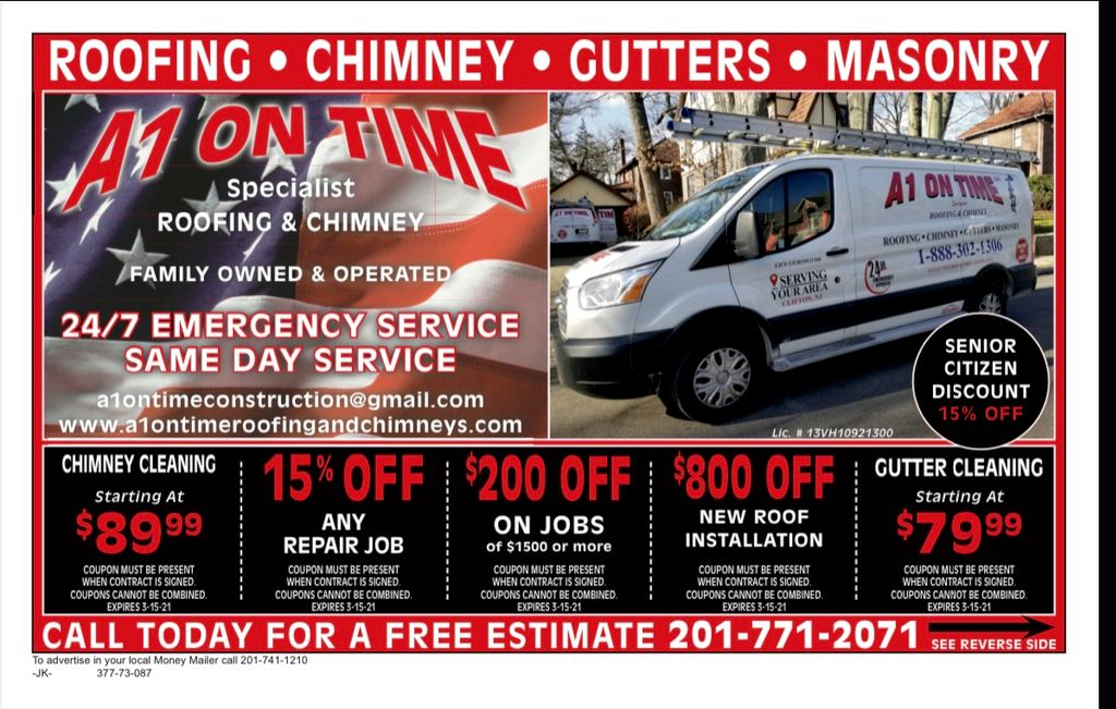 A1 ON TIME ROOFING AND CHIMNEY LLC