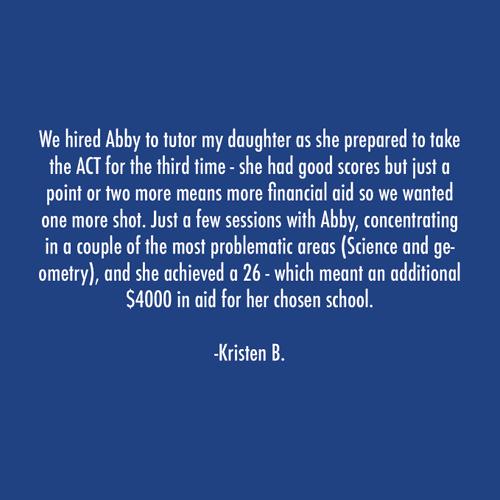 Parent Testimonial ACT Tutoring