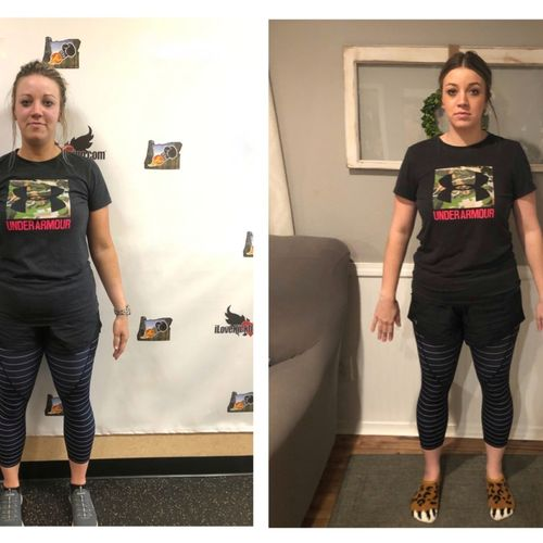 12 sessions with me & her own disciplined diet and she's down 11 lbs!