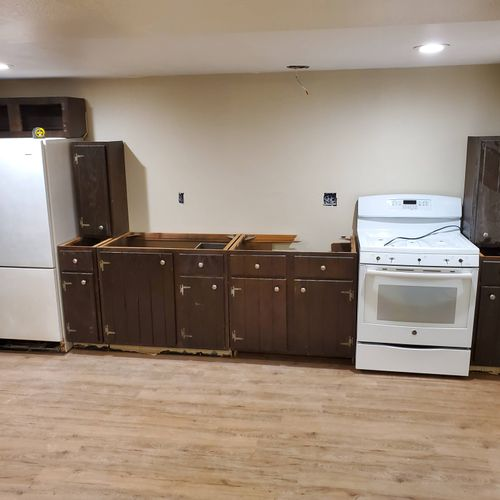 secondary kitchen addition in a basement , done on a budget