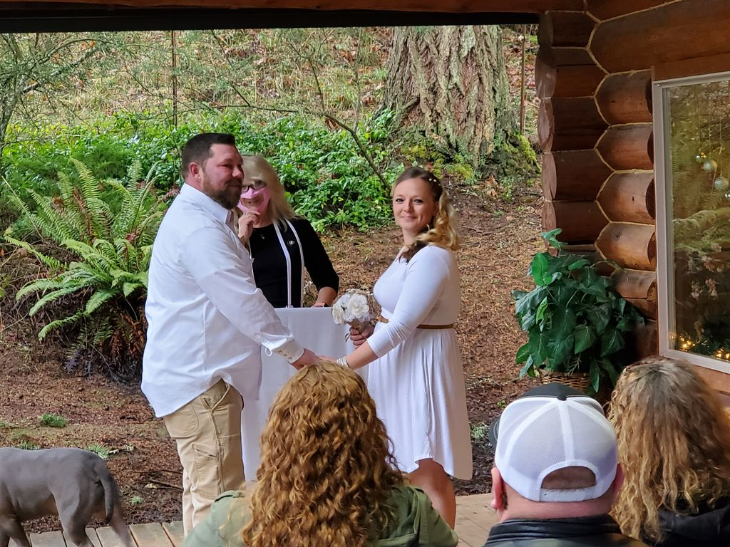 Officiating an outdoor Cabin Wedding