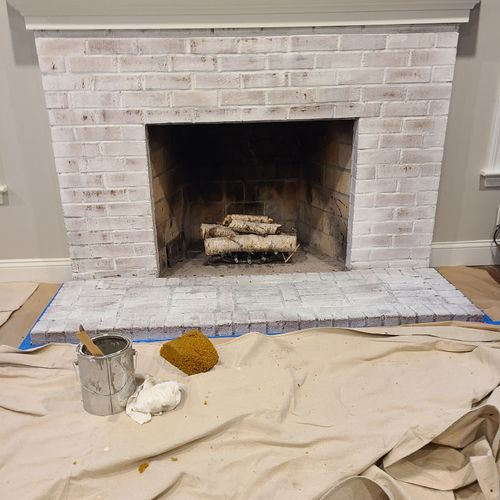 Fire place Limed washed