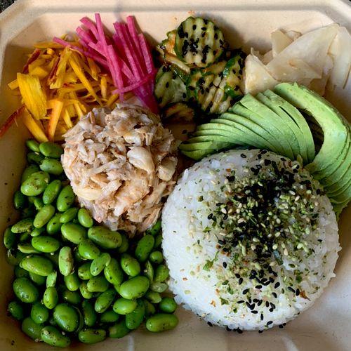 Drop off boxed meal: deconstructed sushi bowl/ sushi rice/crab/edamame/avocado/watermelon radish/sunomono/ginger+ wasabi