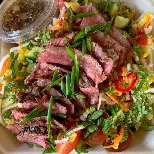 Drop off boxed meal: Thai steak salad/peppers/kohlrabi/jicama/cucumber/Thai basil/mint/nuom chac