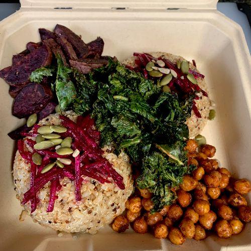 Boxed drop off meal: quinoa bowl/Roasted smoky paprika purple potatoes/crispy kale/ roasted garbanzo/raw ginger beets/pepitas