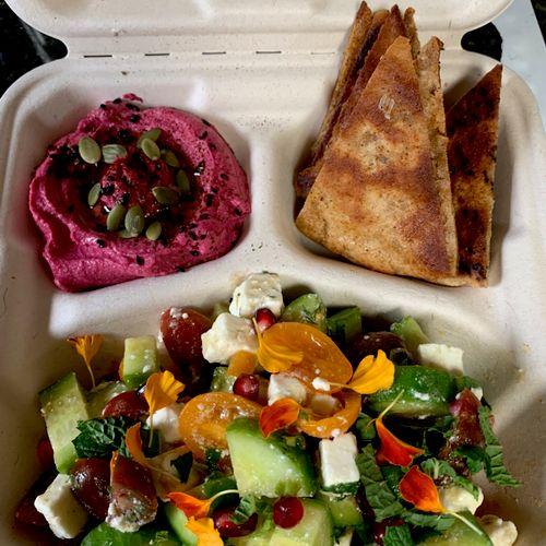 Boxed drop off meal: cucumber feta salad/beet hummus/fried pita