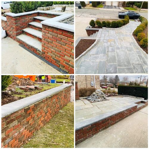 Fort Lee finished project - installation of Bluestone pavers/caps, brick and Belgian Block