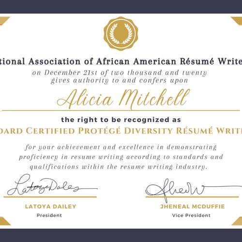 Board Certified Protégé Diversity Resume Writer