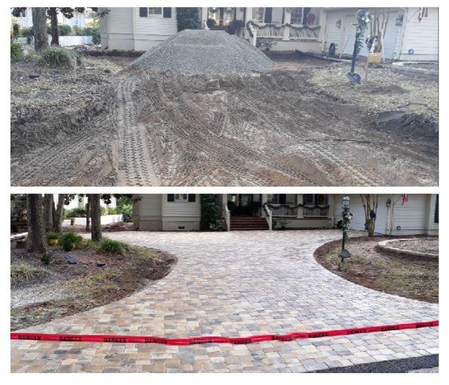 3 pieces paver driveway