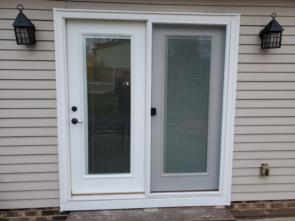 Garden patio door built in blinds