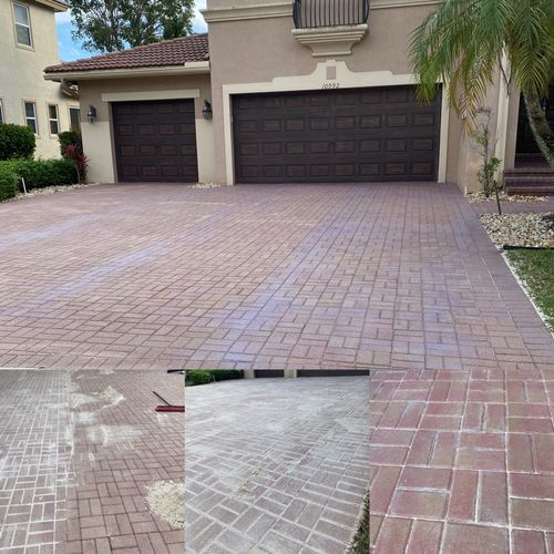 Paver sanding and sealing in natural matte finish sealer goes on light purple drys completely clear