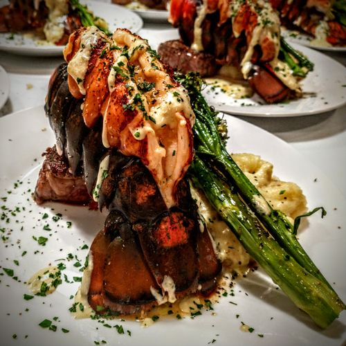 Surf & Turf: Filet, Lobster Tail, Horseradish Mash, Rapini