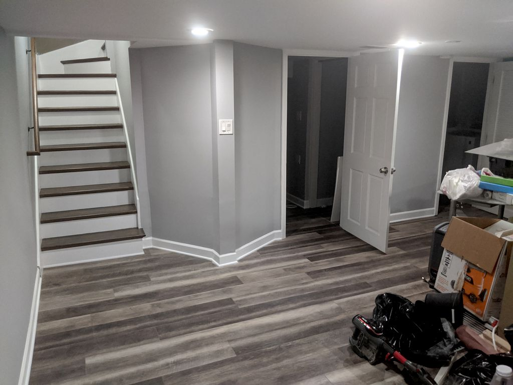 Basement and hardwood stairs