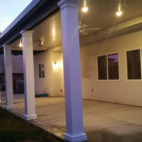 Solid Patio Cover with Craftsman Style Columns - Modern Design