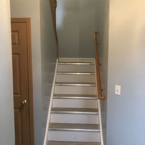Painting, stairs with flooring