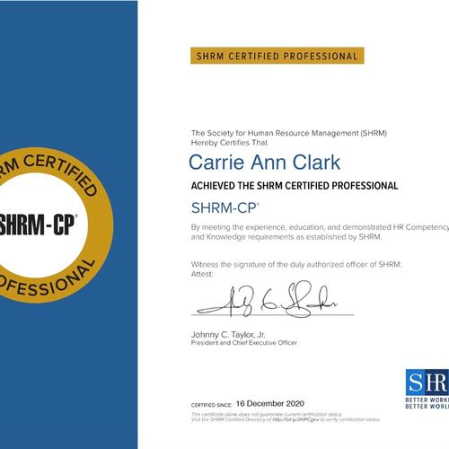 SHRM-CP Certified