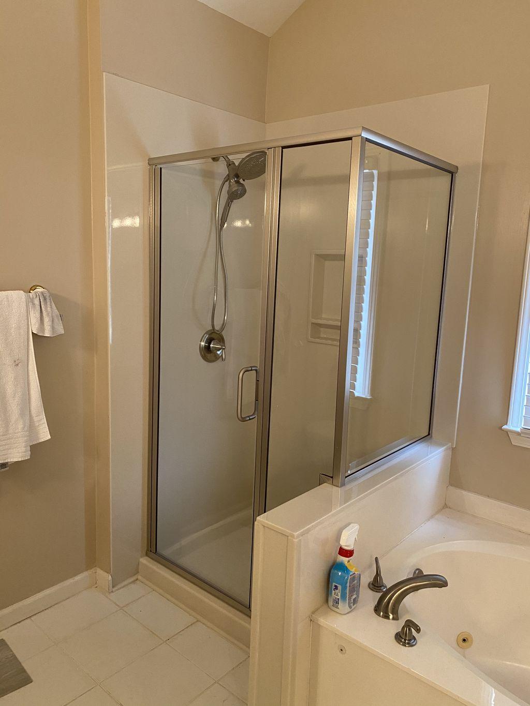 Shower remodel with shower door