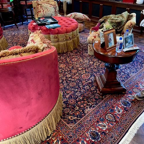Oriental rug installed after cleaning
