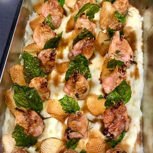 Chicken Osso Bucco w/ Lattice Potato and Fried Basil Leaf