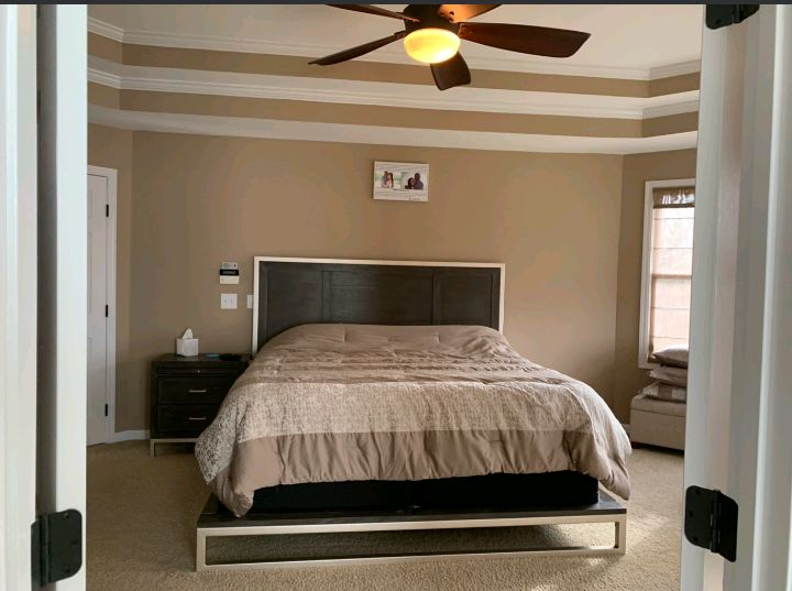 Bedroom with tray ceiling and bathroom painting