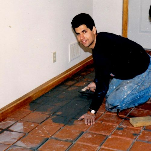 Throw back. Installing tile in the 80's
