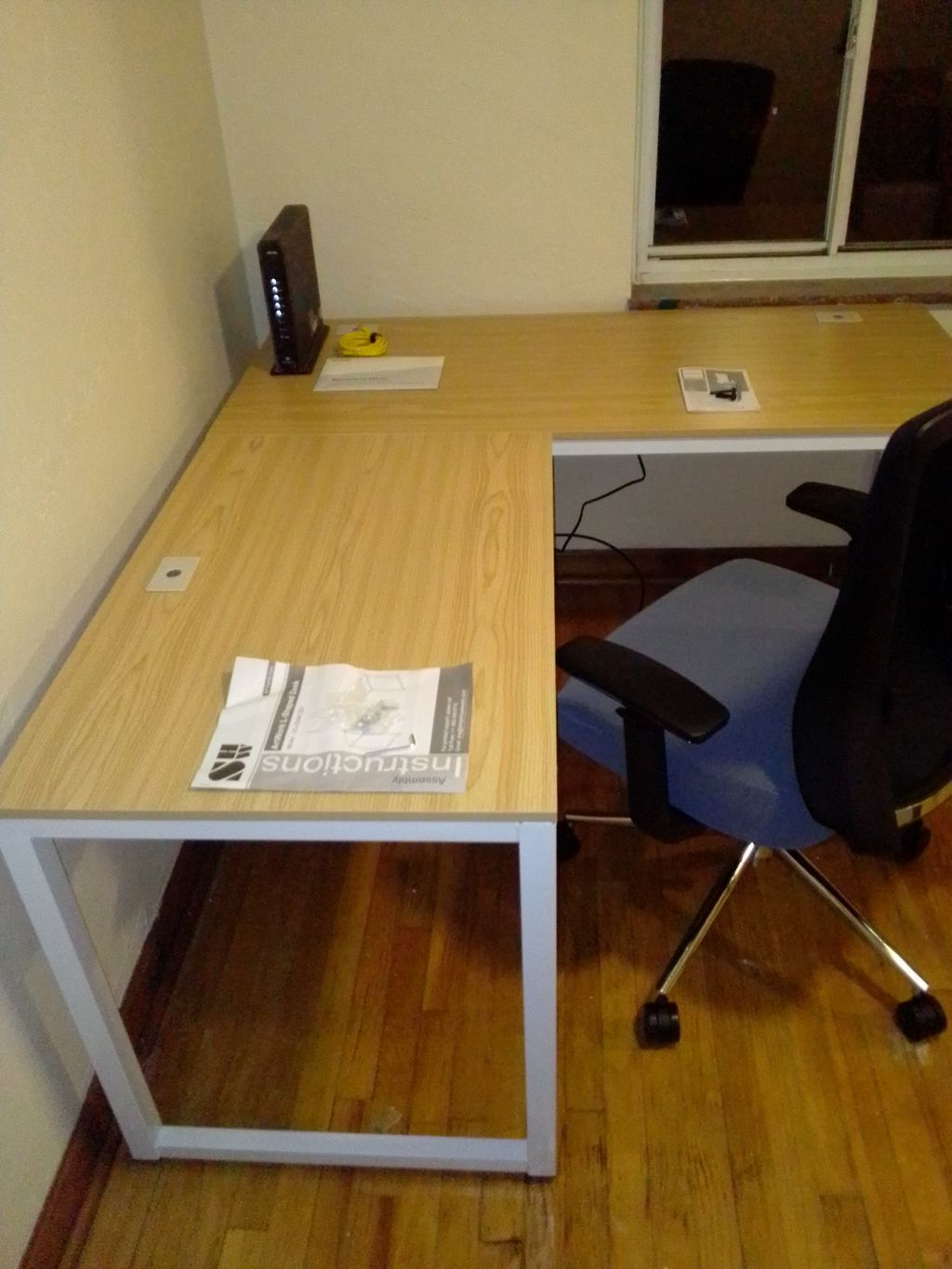 L shaped desk and office chair