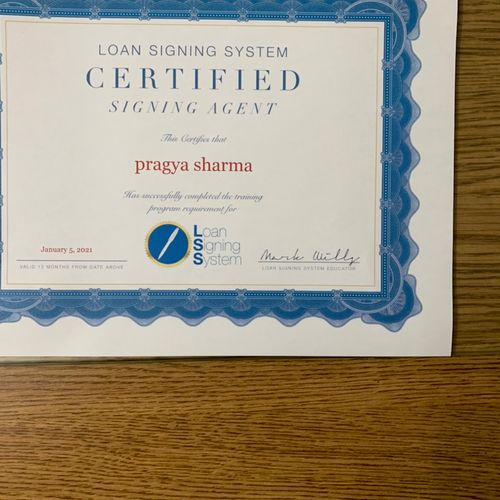 Loan Signing Agent Certificate