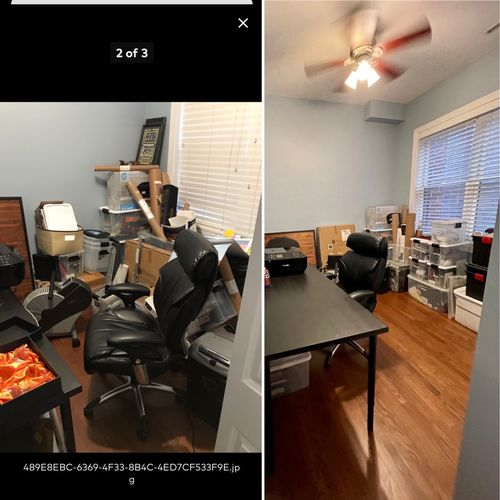 Office organization before and after