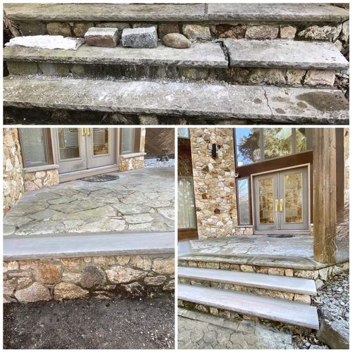 - replacement of 3 new limestone and fix the old ones in Norwood NJ