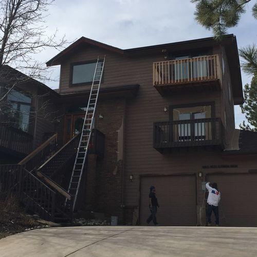 Exterior paint in progress