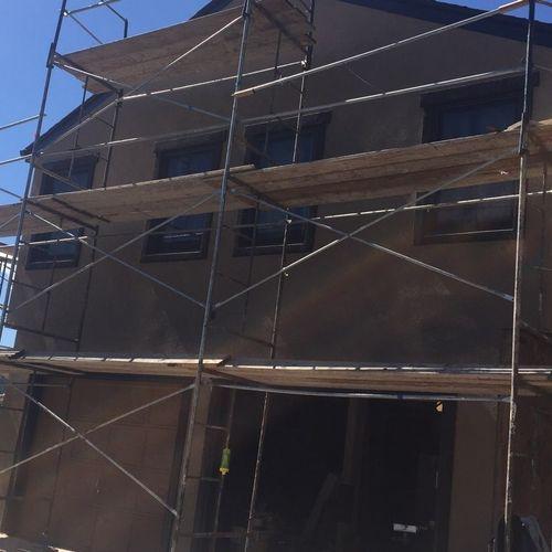 Stucco exterior in progress
