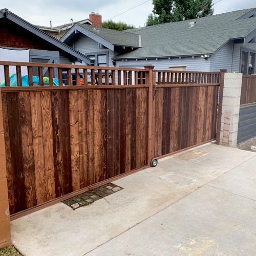 Custom fence build with sliding gate