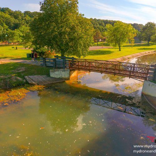 Walk over bridge on other side of lake in Sayreville