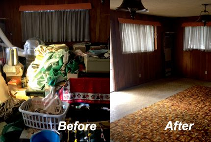 Before and after of an entire room cleanout