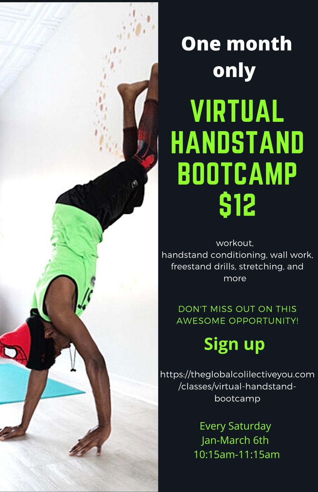 Virtual Handstand Bootcamp Saturday classes