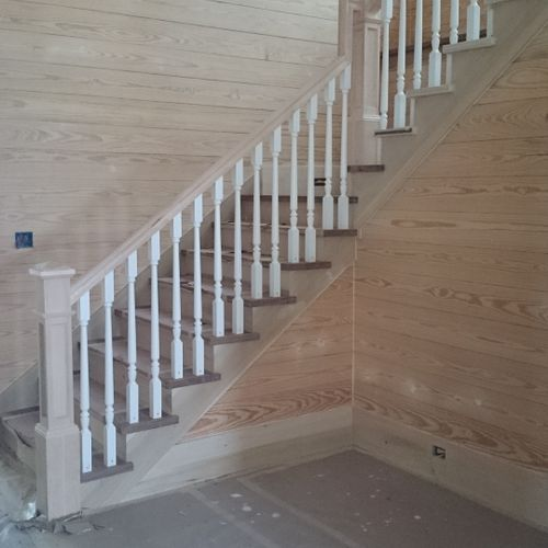 Walnut stairs, balusters and newel posts