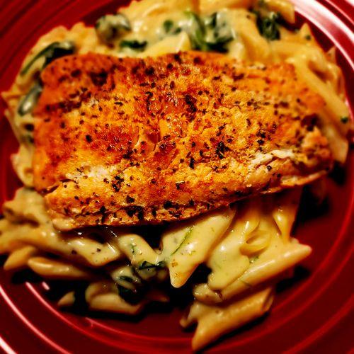 Italian Salmon over Penne & Spinach Alfredo