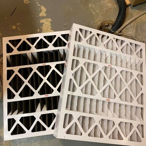 Side by Side Old and New Furnace Filters