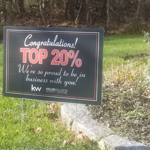 Acknowledged in Top 20% of agents