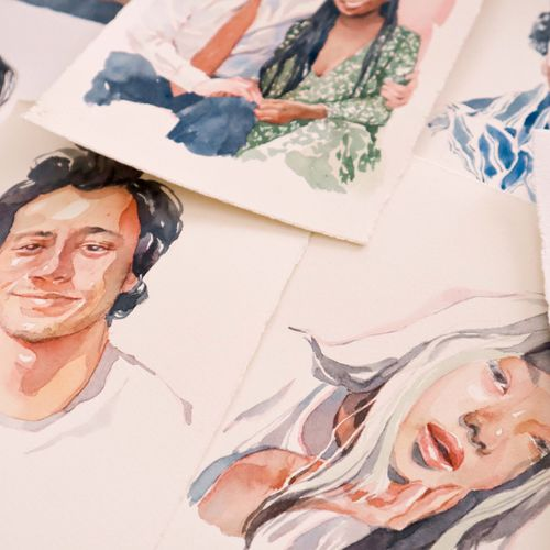 watercolor portrait work