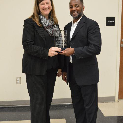 Presenting recognition award to Mrs. Rhonda Willis of Hampton County School District.