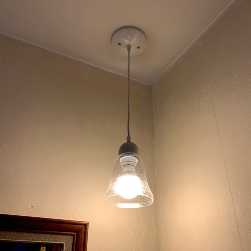 Pendant light in bathroom