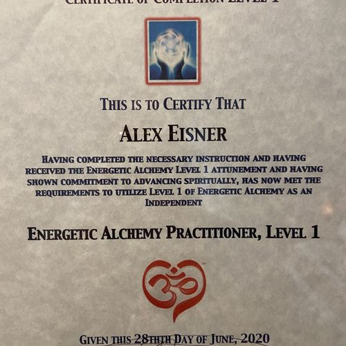 Certificate of completion for Energy Alchemy.