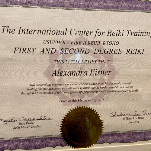 Certificate of completion for Reiki I/II.