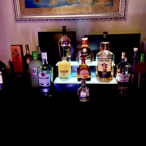 Our liquor bottles display
