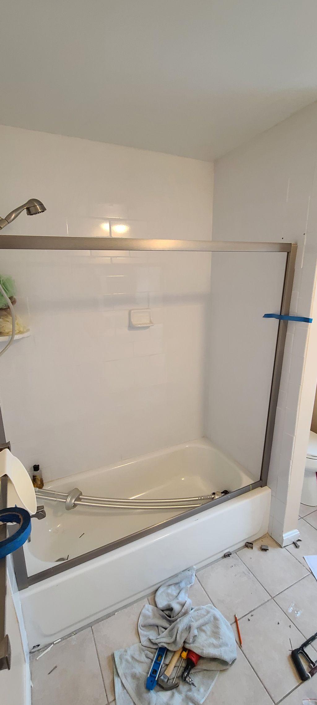 Bathtub door installation