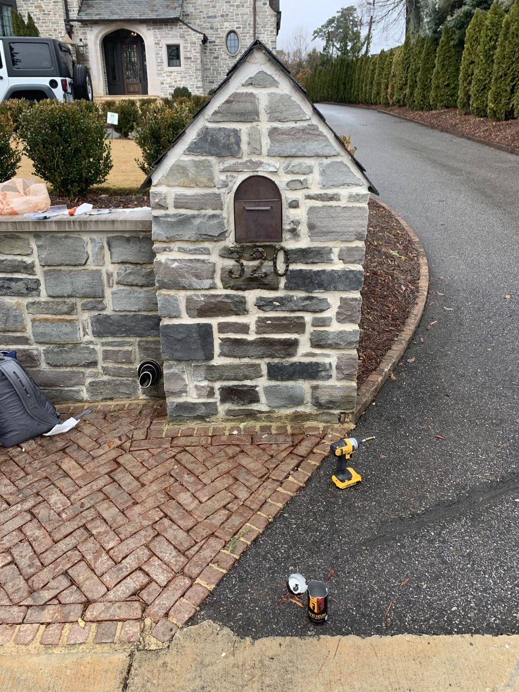 Installing numbers on concrete mailbox