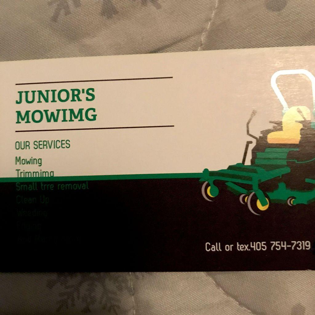 Junior's mowing