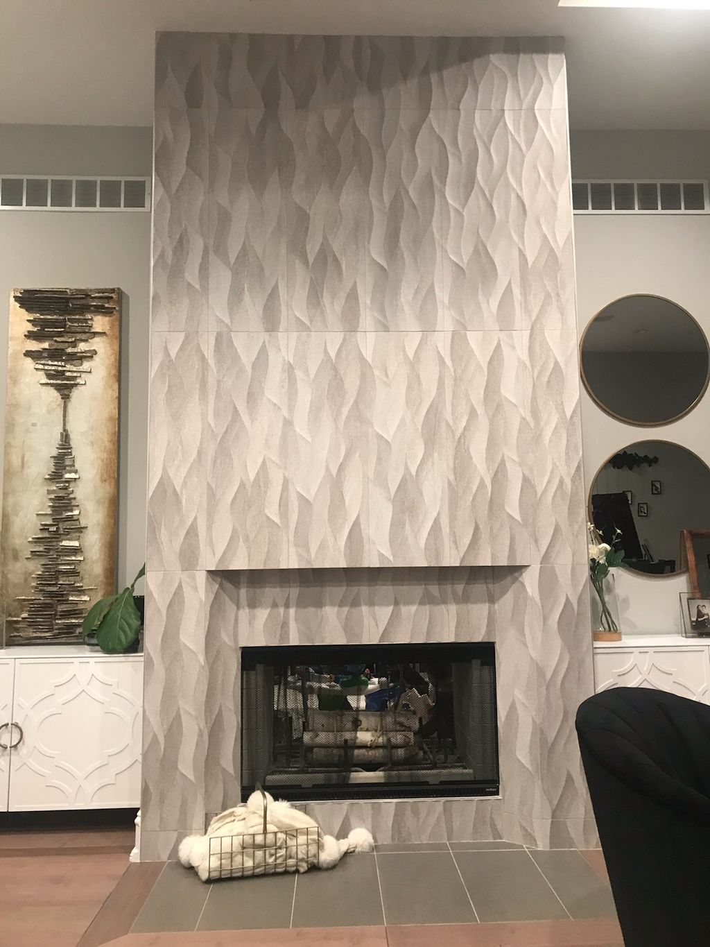 Wave tile fireplace