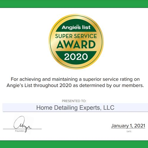 Winner 2020 Super Service Award